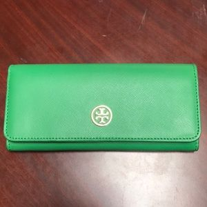 Tory Burch emerald green envelope wallet